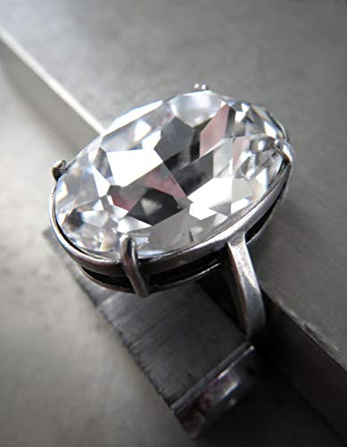 - Swarovski Clear Crystal Oval Cocktail Ring with Antiqued Silver Plated Adjustable Ring Band