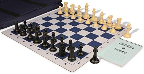 - Professional Jumbo-Floppy Chess Set Package Black & Camel Pieces - Blue
