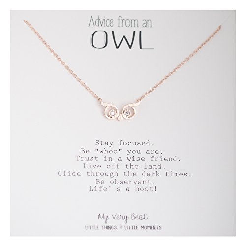 My Very Best Wise Owl Eye Necklace (rose gold plated (Owl Jewelry)