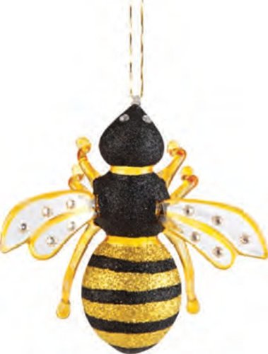 Gallerie II Glass Bumble Bee Hives Nest Yellow Black Fuzzy Nectar Flowers bee ornament for Christmas