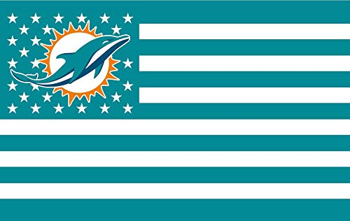 RongJ- store NFL Miami Dolphins Flag Us Star and Strip Design Team Super Bowl Champions Banners Dolphins Flag Flying 3ft X 5ft Banner Polyester Champion Flag