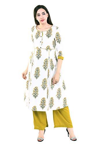 Vihaan Impex Indian Kurtis for Women Kurti Kurtas for Women Bust Size 38 Inches White Kurti