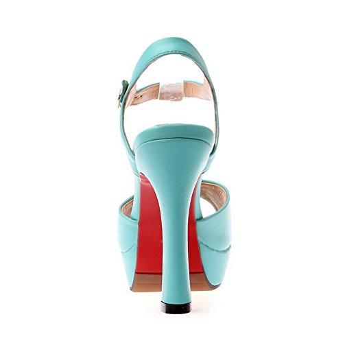 AalarDom Mujeres Tacón ancho Material Suave Sólido Peep Hebilla Sandalia Azul