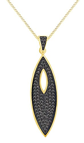 14k Yellow Gold Over Sterling Silver Round Cut Black Natural Diamond Marquise Shape Pendant Necklace (0.53 cttw)