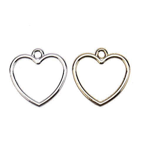 JETEHO Pack of 20 Open Heart Valentine Charms Pendants for Crafting, Jewelry Findings Making Accessory, Silver and ()