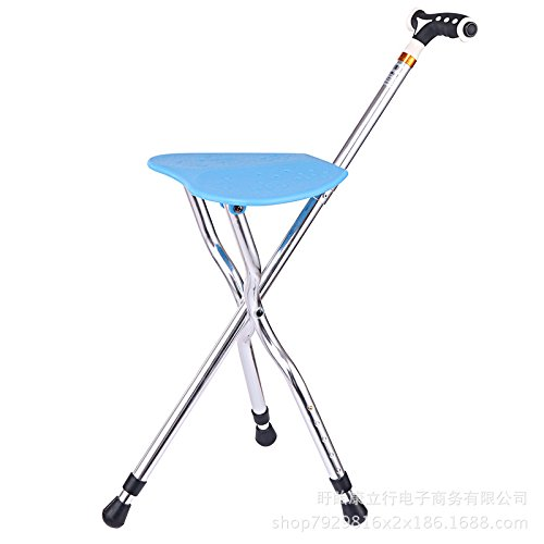 Folding Canes Seat Walking Stick Height Adjustment Cane Seat 400 lbs Capacity Combo Chairs Stool with LED Light Deluxe Massage Walking Stick Travel Aid As a Gift for Elder (Blue) by M-GYG