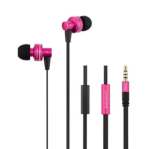 Nxg Stereo Audio - NexGenGear ES900i Earphone [3.5mm Plug] [Noise Cancelling] High Definition Bass Stereo Headphones in-Ear [Handsfree] [Tangle Free Cable] Built-in Microphone Earbuds - Hot Pink/Black