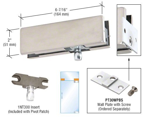 DORMA Brushed Stainless Wall Mounted Transom Patch Fitting With Pivot by CR Laurence (Image #1)