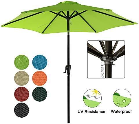 COBANA Patio Umbrella, 7.5 Outdoor Table Market Umbrella with Push Button Tilt Crank, 6 Ribs, Lime Green