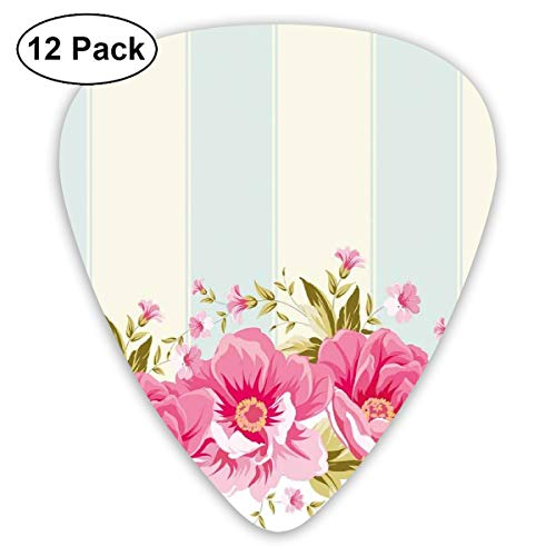 Guitar Picks - Abstract Art Colorful Designs,Pink Peony Border On Vertical Striped Tile Bridal Wedding Design,Unique Guitar Gift,For Bass Electric & Acoustic Guitars-12 Pack