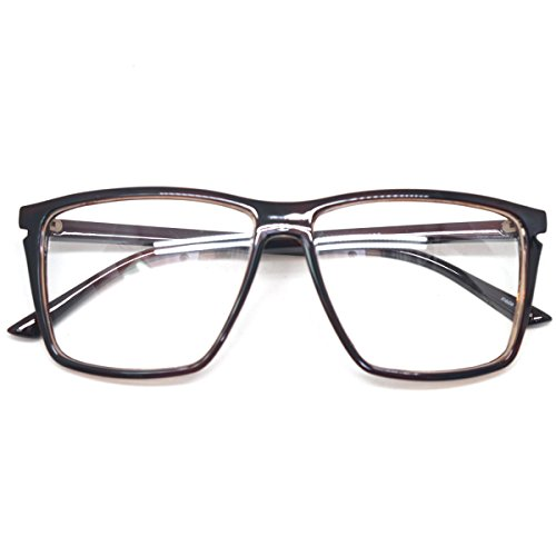 Classic Square Horn Rimmed Nerdy Eye glasses Eyewear Geek Clear Lens Glasses (Brown E1402, - Glasses Geek Lens Clear