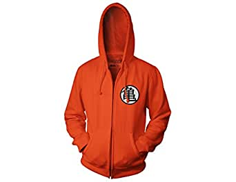 Ripple Junction Dragon Ball Z Kame Symbol Adult Zip Hooded Sweatshirt, Orange, Small