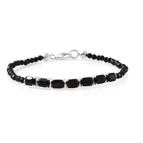 925 Sterling Silver Platinum Plated Gemstone Beads Black Spinel Line Tennis Bracelet for Women Gift Jewelry 7.25