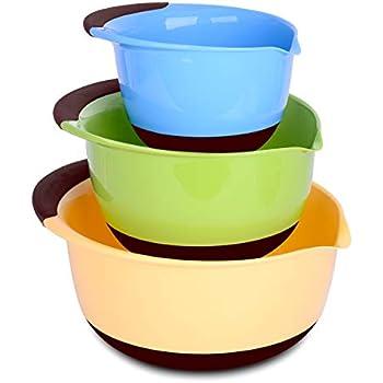 Amazon Com Vremi 3 Piece Plastic Mixing Bowl Set