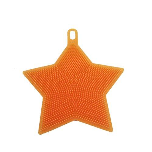 Shubuy Antibacterial Silicone Non Stick Dish washing Dish Brush Sponge Towel Scrubber For Kitchen Wash Pot Pan Dish Bowl / Wash Fruit and Vegetable (Orange)