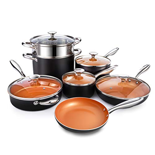 - MICHELANGELO Copper Cookware Set 12 Piece with Nonstick Ceramic Coating, Copper Pots and Pans Sets Induction, Ceramic Cookware Set Nonstick - Include Skillet, Saute Pans, Stock Pot and Steamer Insert