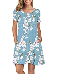 Women's Summer Casual T Shirt Dresses Short Sleeve Swing Dress with Pockets