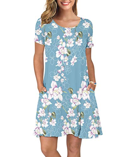(KORSIS Women's Summer Floral Dresses Short Sleeve Tunic T Shirt Swing Dresses Flower Light Blue L)