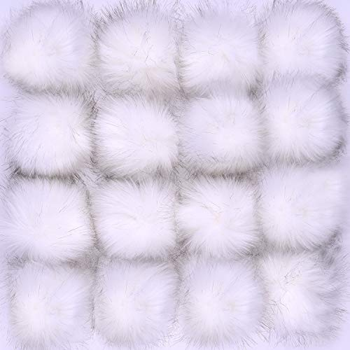 - Coopay 16 Pieces Faux Fur Pom Pom Ball DIY Fur Pom Poms for Hats Shoes Scarves Bag Pompoms Keychain Charms Knitting Hat Accessories (White)