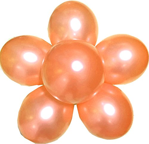 Elecrainbow 100 Pack 12 Inch 3.2 g/pc Thicken Round Metallic Pearlescent Latex Balloons - Shining Rose Gold Balloons for Party Supplies and Decorations