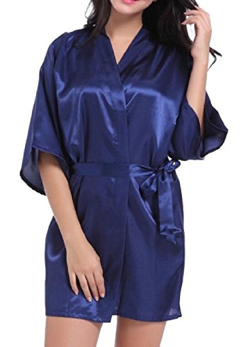 Solid Stylish Satin (Gocgt Women Stylish Satin Robe Bathrobe Solid Kimono Short Robes Nightgown Sleepwear 4 L)