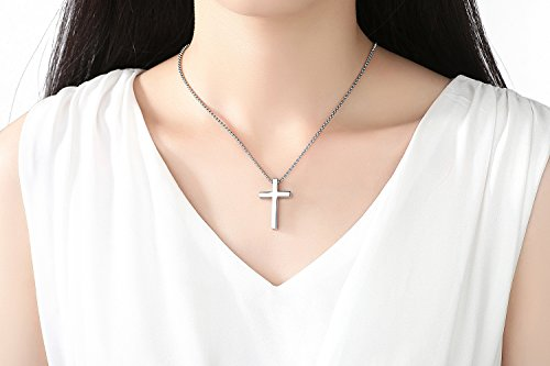 22a7f439f23 Reve Simple Stainless Steel Silver Tone Cross Pendant Chain Necklace for  Men Women, 20''-22'' (Women:1.20.7'' Pendant+20'' Rolo Chain)