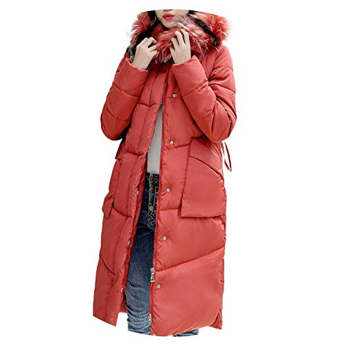 Female Women Winter Coat Warm Outerwear Hooded Coat Cotton-Padded Jacket Winter,Red,XL,