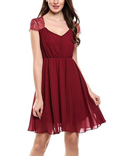 Zeagoo Women Formal Elegant Summer V Neck Lace Chiffon Cocktail Party Dress (Best Dating Profile Descriptions)