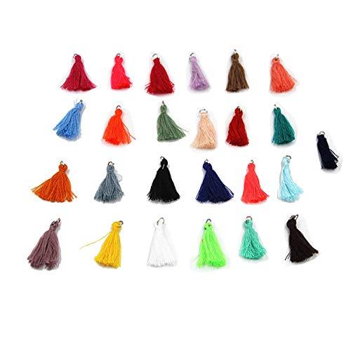 Handmade DIY Tassels 25Pcs Multicolored Mini Tassels for Earring Jewelry Making, DIY Craft Accessory (1.35 Inches)