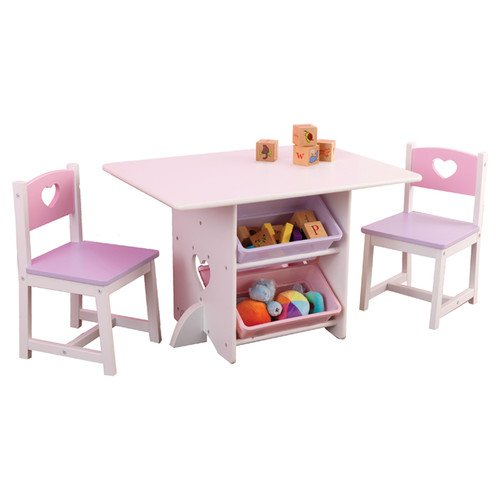 Wood Heart Kids' 7 Piece Table and Chair Set for Children Ages 3 - 8