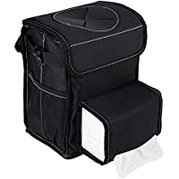 Car Trash Can with Lid,Car Trash Bag Hanging with Storage Pockets Collapsible and Portable Car Garbage Bin