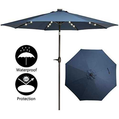 TAGI 9 feet Square Outdoor Umbrella with 32 Solar LED Lights, 8 Iron Ribs Crank and Rocker Tilting Device, Navy Blue