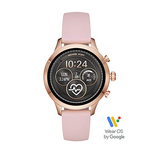 (Michael Kors Women's Access Runway Stainless Steel Silicone Smart Watch, Color: Rose gold-tone (Model: MKT5048))