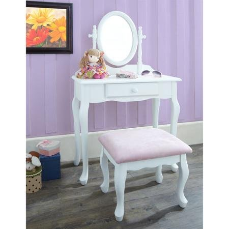 Vanity with Stool, White (Treasures Vanity Bench)