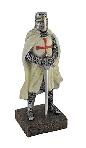 Medieval Templar Knight in Battle Holding Sword Armor Statue - Knights Templar Helmet