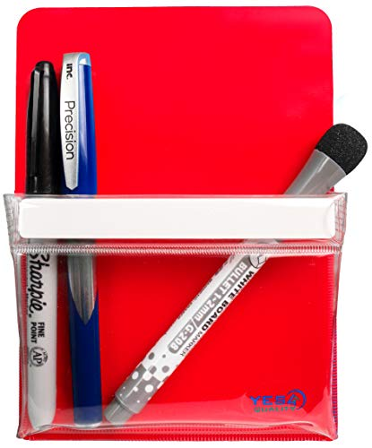 Magnetic Pen Holder for Refrigerator with Strong Magnetic Back - Dry Erase Marker Holder Ideal for Whiteboard, Fridge - Pencil Cup (Medium, Red)