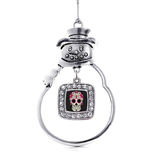 Inspired Silver Sugar Skull Classic Snowman Holiday Christmas Tree Ornament]()