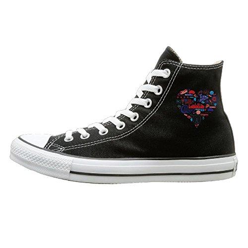 Shenigon Chicago Love Canvas Shoes High Top Design Black Sneakers Unisex Style 35 -