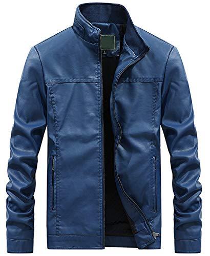 Itemnew Men's Stylish Band Collar Regular Thick Check Lined Moto Pu Leather Biker Jacket (Medium, ()