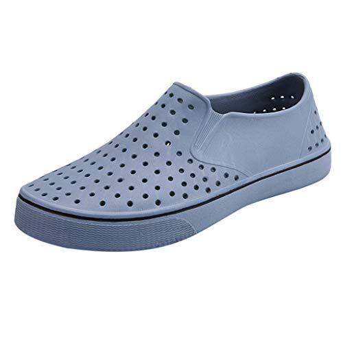 Sunhusing Summer Stylish Couple Sandals Unisex Hollow Hole Shoes Soft Bottom Lazy Beach Shoes Gray