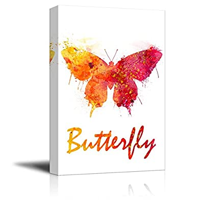 Insects Artwork Series Canvas Wall Art - Watercolor Butterfly - Gallery Wrap Modern Home Art | Ready to Hang - 12x18 inches