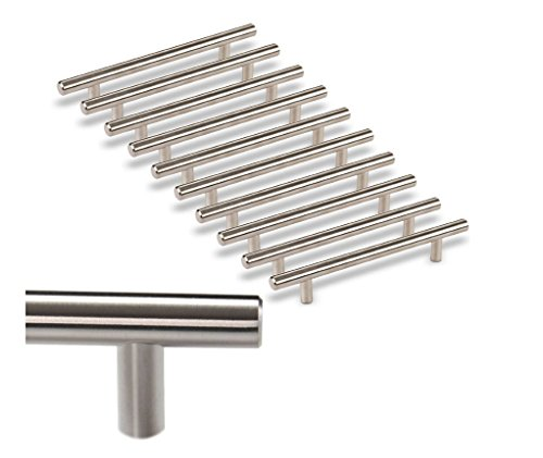 [10 Pack] Kitchen Cabinet Handles/ Pulls Stainless Steel I Cabinet Hardware Bar Handle Pull by COPA Design I Kitchen Door knobs Satin Finish - (Design Cabinet Pull)