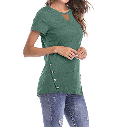 iZHH Women's T Shirt Casual Tops Fashion Round Neck Short Sleeve Button Blouse(Green,2XL/US-XL)