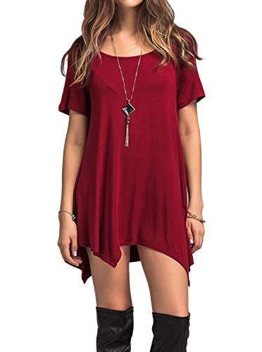 Adreamly Womens Scoop Neck Loose Fit Flowy Tunic Top