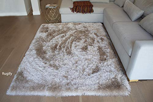 LA Shag Shaggy Furry Thick Big Plush Large Contemporary Fluffy Floor Soft Solid Furry Modern 5-Feet-by-7-Feet Polyester Made Area Rug Carpet Rug Beige Color (Rug Chevron Target)