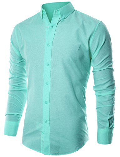 ohoo-mens-slim-fit-long-sleeve-light-weight-oxford-casual-button-down-shirt-dcc015-mint-l-5