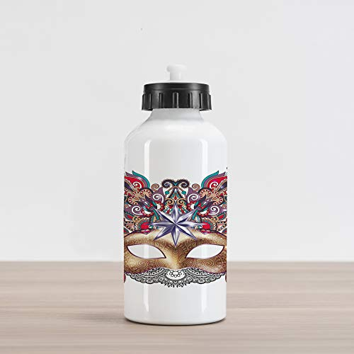 Ambesonne Mardi Gras Aluminum Water Bottle, Venetian Carnival Mask Silhouette with Ornamental Elements Masquerade Costume, Aluminum Insulated Spill-Proof Travel Sports Water Bottle, Multicolor