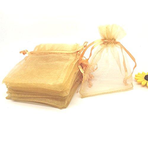 YIJUE 100pcs 3x4 Inches Drawstrings Organza Gift