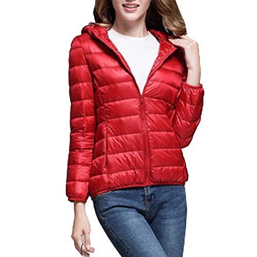 LaoZanA Red Packable Jacket Lightweight Hooded Coats Down Women's 0qrp0