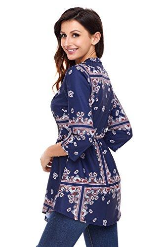 Neuf Imprimé floral Bleu marine en mousseline de soie boutonné pour manches longues broches Tuck Tunique Pull Chemisier de soirée pour femme Tenue décontractée d'été Taille UK 12EU 40